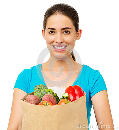 Woman With Vegetables Over White Background