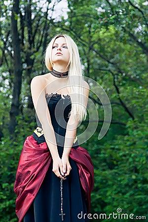 Woman in vintage dress