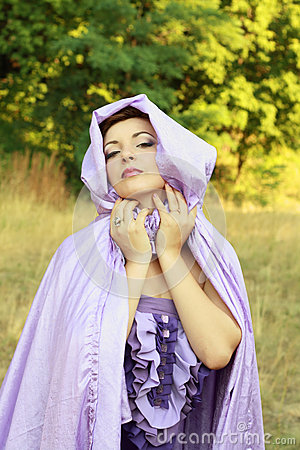 Woman in violet cloak