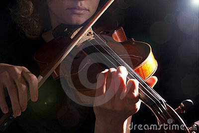 Woman violin play young beautiful