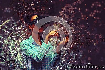 Woman in virtual reality Stock Photo