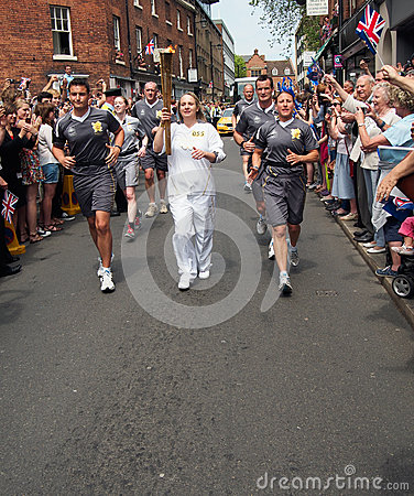 Woman Volunteer in Olympic Torch Relay, England Editorial Photography