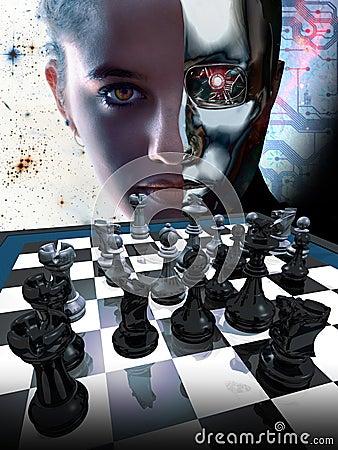 Free Woman Vs Robot Stock Photography - 44800002
