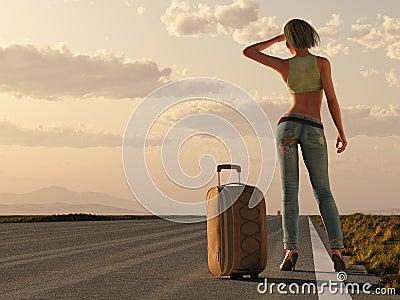 Woman wait on roadside