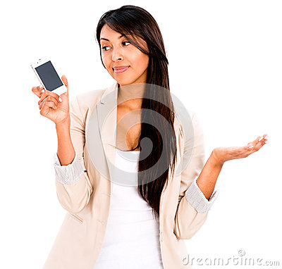 Woman waiting for a call