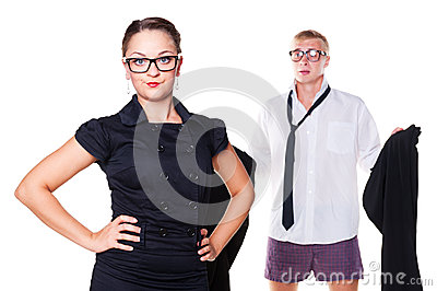 Woman waiting until the man get dressed