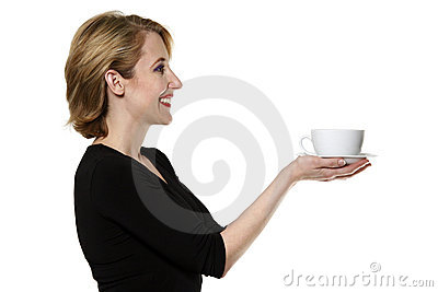 Woman/waitress offering tea/coffee isolated