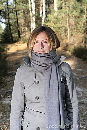 Woman on a walk in the forest