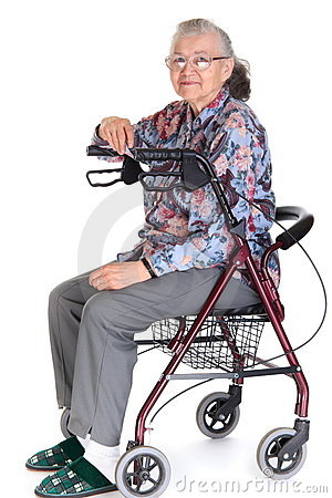 Woman in walker/wheelchair