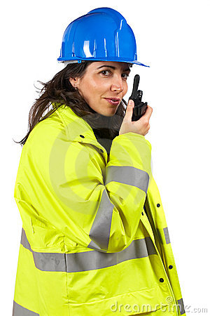 Woman with walkie talkie