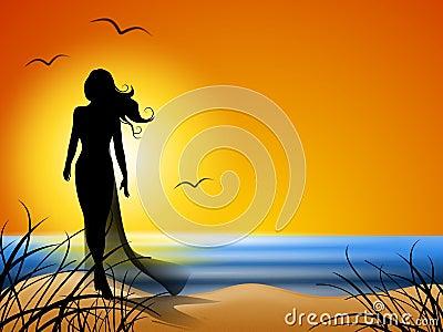 Woman Walking Alone on Beach