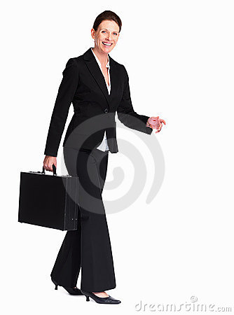 Woman walking with a briefcase over white