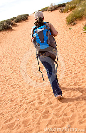 Woman walking the desert