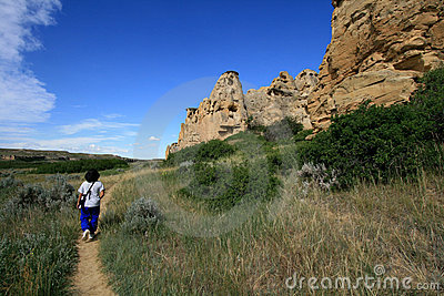 Woman Walking on Hoodoo Trail