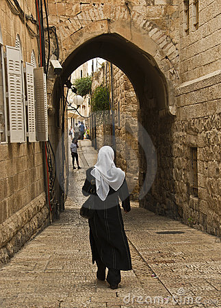 Woman Walking in the Old City, Jerusalem Israel Editorial Photography