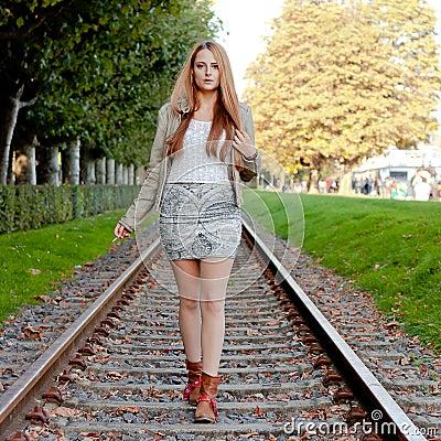 Free Woman Walking On Rail Track Stock Photography - 55255242