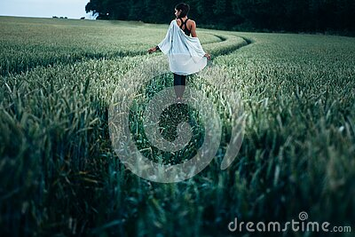 Woman Walking In The Rice Plant Field During Daytime Free Public Domain Cc0 Image