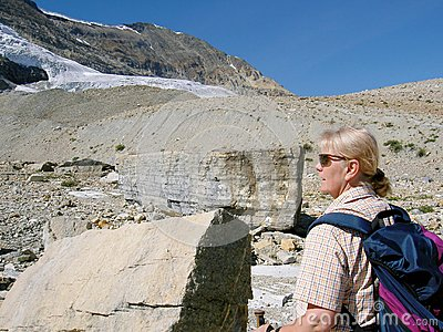 Woman walking in the Rocky Mountains
