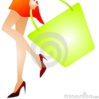 Free Woman Walking Shopping Bag 2 Stock Image - 5368491
