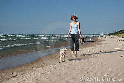 Woman Walking a Small White Dog on the Beach Stock Photo