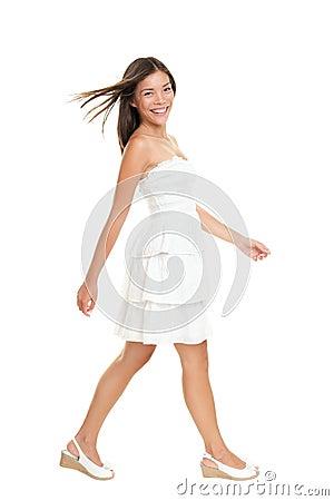 Woman walking in summer dress