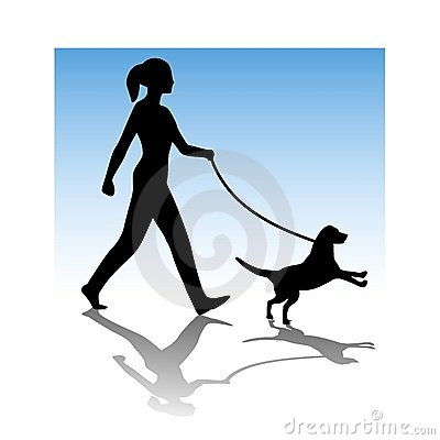 Woman Walking Young Dog