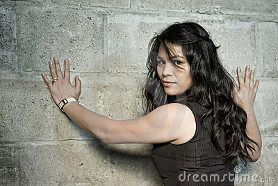 Woman at wall