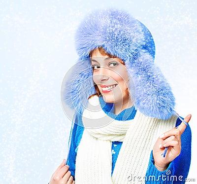 Woman in a warm hat