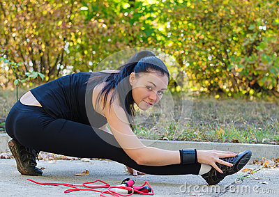 Woman warming up before training