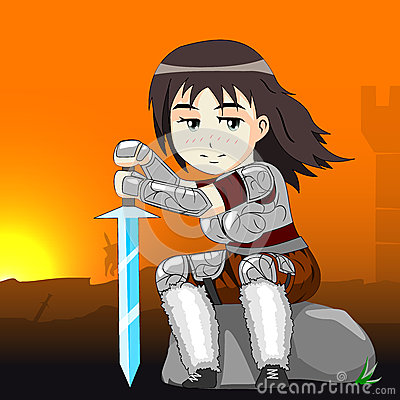 Woman warrior on a horse vector