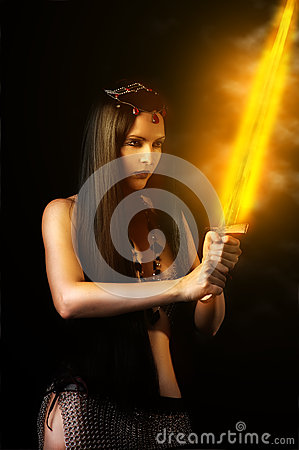 Free Woman Warrior With Fire Sword Stock Photos - 29255823