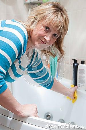 Woman washing bath