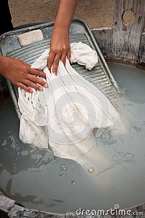 Woman and washing board
