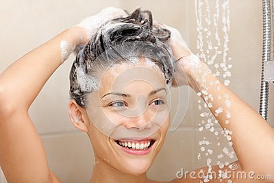 Woman washing hair