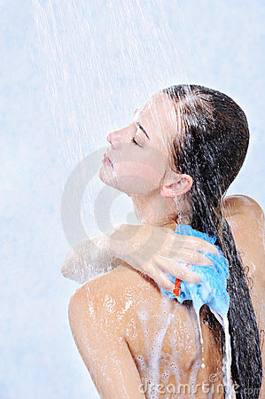 Woman Washing Her Body In A Shower Stock Photo - Image ...