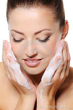 Free Woman Washing Her Face Stock Photography - 11136102