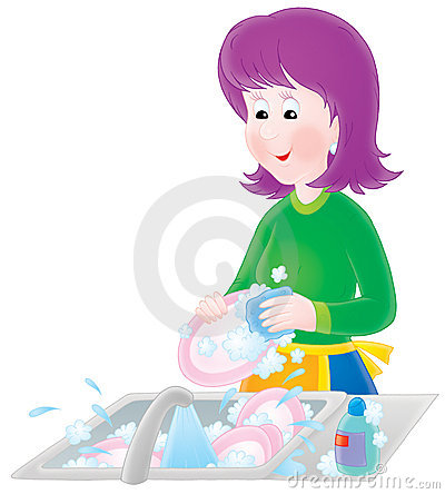 Woman washing plates