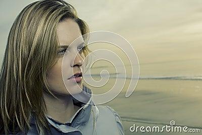 Woman portrait distant stare