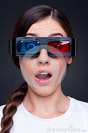 Woman watching 3d film