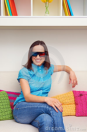 Woman watching 3d film and resting