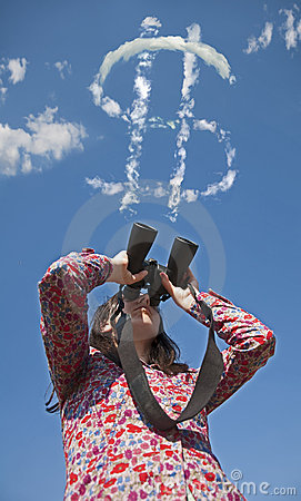 Woman watching with binoculars