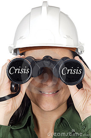 Woman watching the crisis