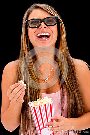 Woman watching a 3D movie