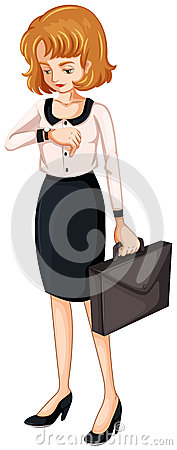 A woman watching her watch while holding an attache case