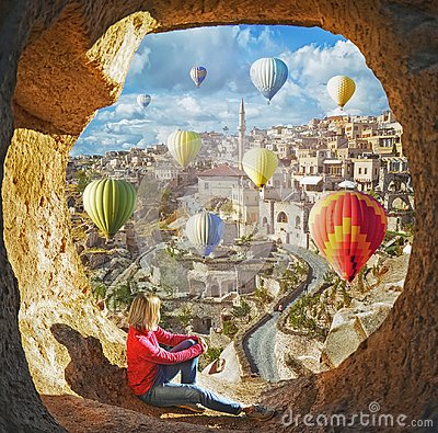Free Woman Watching Like Colorful Hot Air Balloons Flying Over The Valley At Cappadocia Stock Photography - 117002742