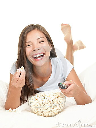 Free Woman Watching Movie Laughing Royalty Free Stock Image - 15416886