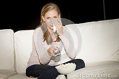 Woman Watching Sad Movie On TV