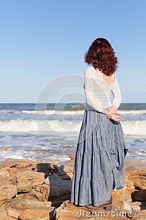 Free Woman Watching Waves Royalty Free Stock Photo - 30416195