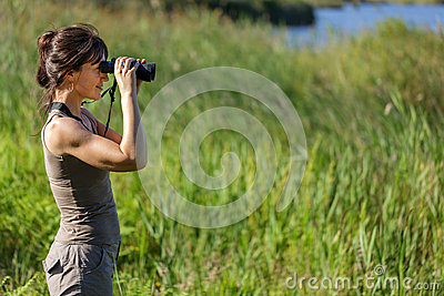 Woman watching wildlife