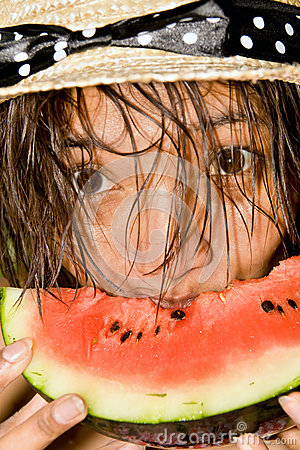 Woman with water melon